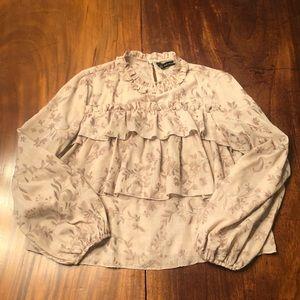 Zara embroidered ruffle top small
